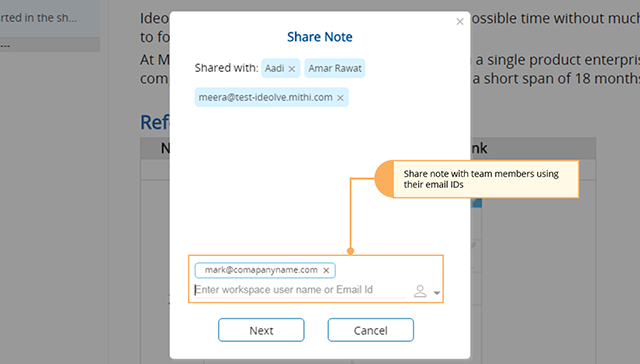 Share note with team members using their email ids