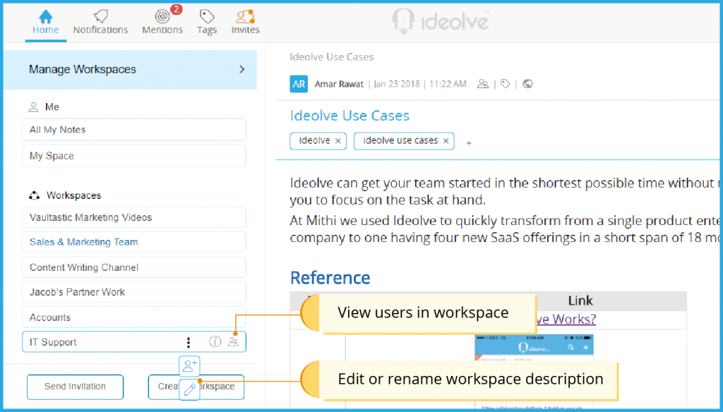 Edit or rename workspace description. View users in workspace