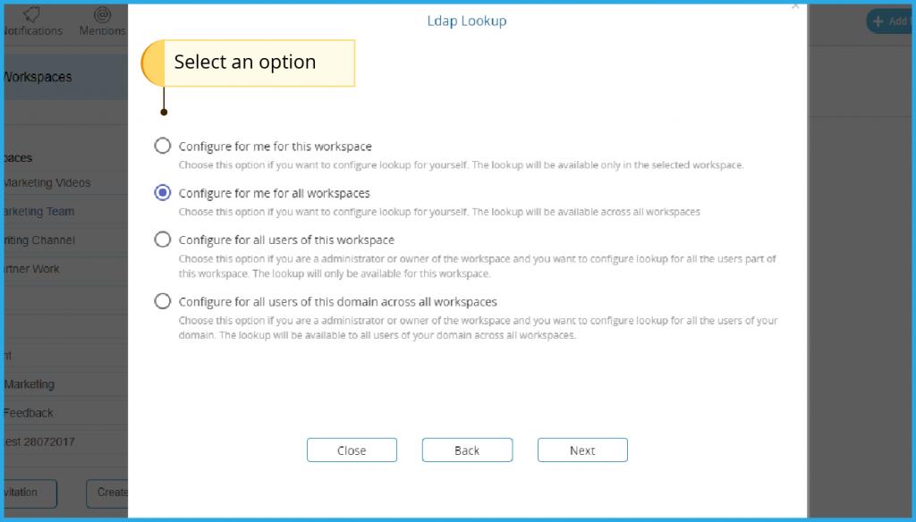 Select desired option